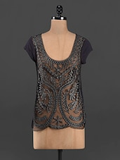 Grey Embroidered Sheer Front Short Sleeve Top - RENA LOVE