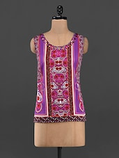 Purple Ethnic Printed Sleeveless Top - RENA LOVE