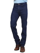 solid navy blue denim jeans -  online shopping for Jeans