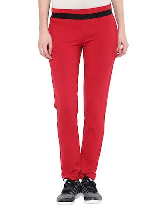 red cotton track pants
