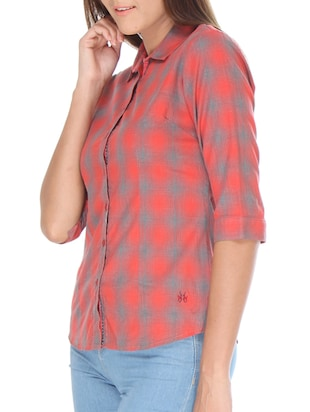 red cotton shirt - 10838350 - Standard Image - 2