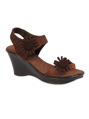 40dedb764d9e Brown fabric embellished sandals - online shopping for wedges