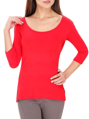 red cotton lycra top