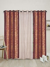 Red Polyester Set Of 3 Curtains - By