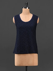 Navy Blue Sleeveless Lacy Front Top - Butterfly Wears