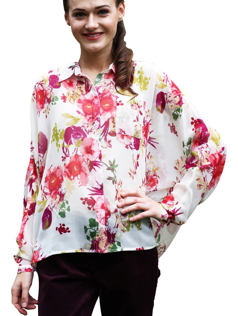 Floral Printed Long Sleeves Georgette Top - Meiro