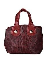 Maroon Snake Skin Textured Handbag Cum Sling - Karrat 22