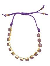 Purple Stones Embellished Bracelet - By
