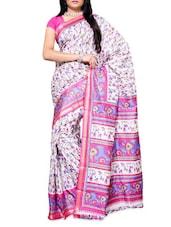 Printed White Art Silk Saree - Ambaji