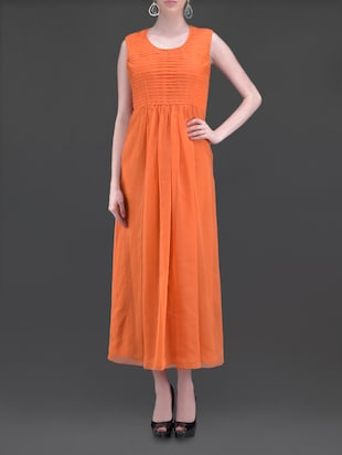 Bright orange pin-tuck maxi dress