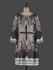 Black Printed Satin Dress With Embellished Neckline - MARMALADE
