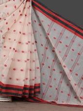 Red & Black Stripe Border White Woven Saree - Mmantra