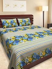 Floral Print With Stripes Double Bedsheet Set - Yellow Season