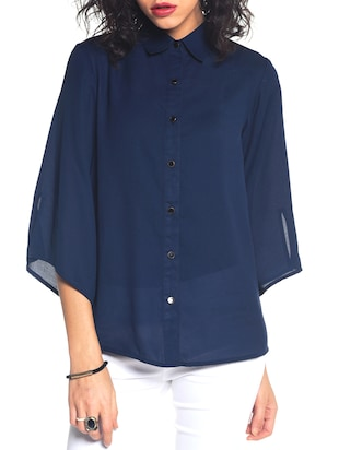 navy blue polyester regular shirt