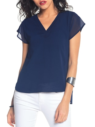 navy blue georgette High-Low  top