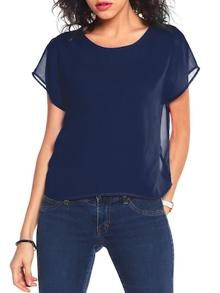 navy blue regular top