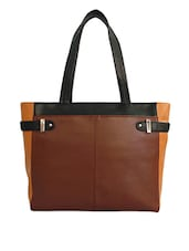 Color Block Leatherette Hand Bag - Toteteca