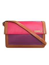 Color Block Leatherette Sling Bag - Toteteca