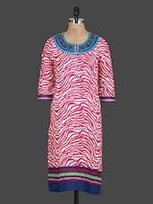 Pink Printed Round Neck Cotton Kurti - Drashti