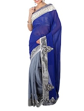 Royal Blue And Grey Georgette Saree - Panghat