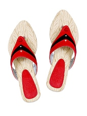 Red & Black Color Block Flat Sandals - IL Vigore
