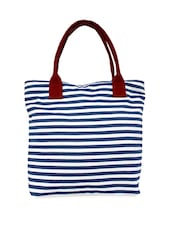 Blue And White Striped Canvas Handbag - Carry On Bags