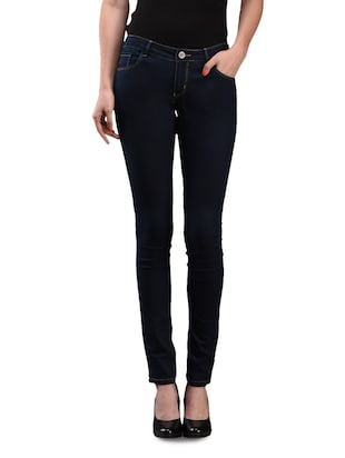 plain solid blue narrow fit denim jeans