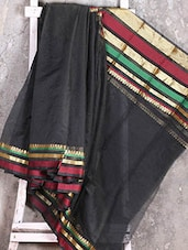 Zari Woven Border Black Saree - Shiva Saree