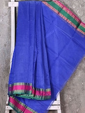 Contrast Woven Border Blue Kota Saree - Shiva Saree