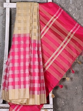 Woven Checked Pink Saree - Shiva Saree