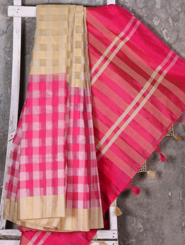 Woven Checked Pink Saree - Shiva Saree