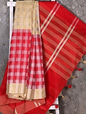 Woven Checked Red Saree - Shiva Saree