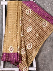 Checked With Embroidered Pallu Synthetic Saree - Shiva Saree