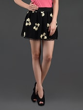 Flower Printed Lace Border Flared Mini Skirt - N-Gal