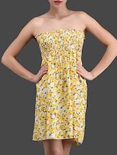 Floral Print Strapless Short Dress - N-Gal