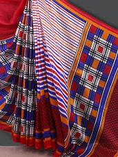Striped With Checks Saree - Varanga