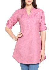 Pink Plain Solid Cotton Kurti - Soch