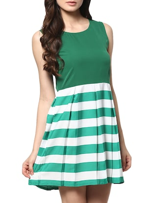 green poly crepe fit & flare dress