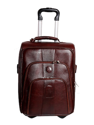 brown genuine leather luggage