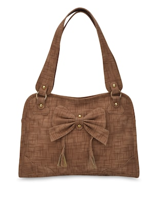Bow Embellished Leatherette Brown Handbag