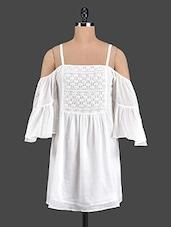 White Cami Neck Cotton Dress - Aaliya Woman