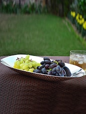 Silver Plated Oval Brass Fruit Dish - By