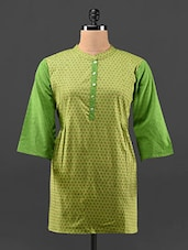 Solid Sleeves Printed Cotton  Kurta - KAJJALI