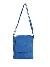 Solid Blue Leatherette Sling Bag - Bags Craze