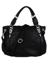Black Leatherette Handbag - Bags Craze