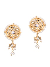 Gold And White Kundan Polki Earrings - By
