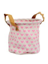 White Pink Heart Bag Planter - Gifts By Meeta