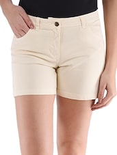 Beige Plain Solid Cotton Lycra Shorts - Alibi