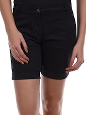 Black Plain Solid Cotton Lycra Shorts - Alibi