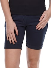 Solid Navy Blue Cotton Lycra Shorts - Alibi